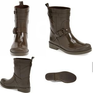 """Coach """"Lester"""" Olive Green Ankle Rain Boots"""